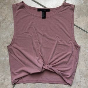 Forever 21 blush pink twist front crop top sz S